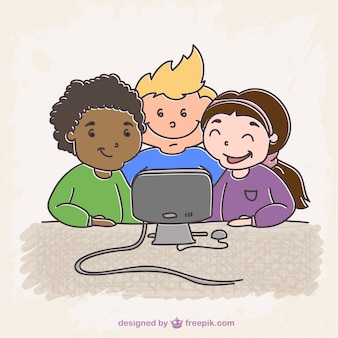 Dibujo estudiantes con ordenador