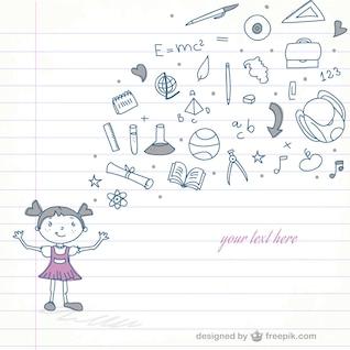 Dibujo niña en la escuela