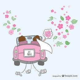 Dibujo recién casados en coche