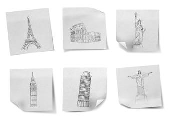 Dibujo viajar por todo el mundo en los papeles de nota blancas (Francia, Es