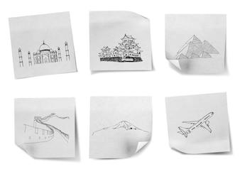 Dibujo viajar por todo el mundo en los papeles de nota blancas (Japón, Ind