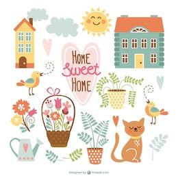 Dibujos adorables de hogar, dulce hogar