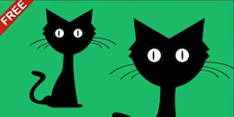 Dibujos animados del gato en diseño plano ilustración vectorial