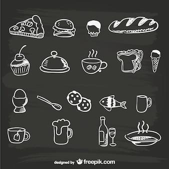 Dibujos de comida en pizarra