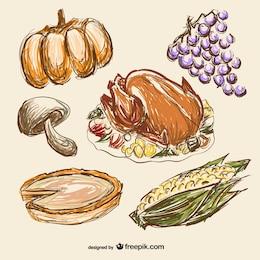 Dibujos de comida para Acción de Gracias