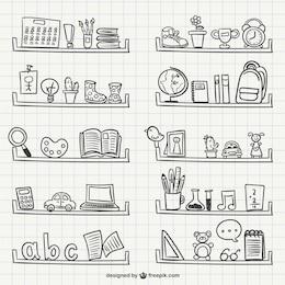 Dibujos de estantes con objetos