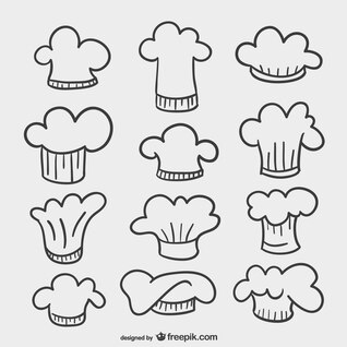 Dibujos de gorros de cocina