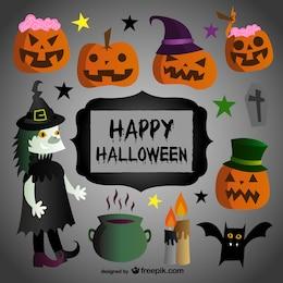 Dibujos y rótulo de feliz Halloween