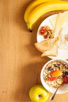 Diferentes comida casera para el desayuno