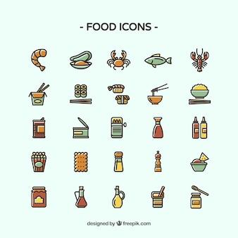 Diferentes iconos de alimentos