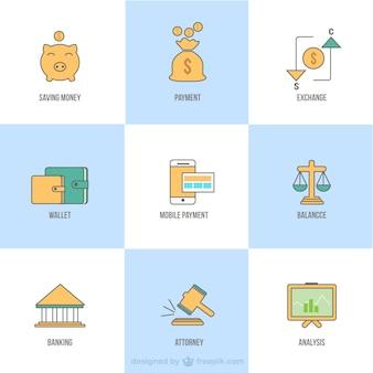 Diferentes iconos de negocios