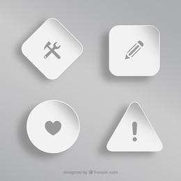 Diferentes iconos sobre formas blancas