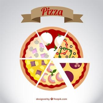 Diferentes porciones de pizza