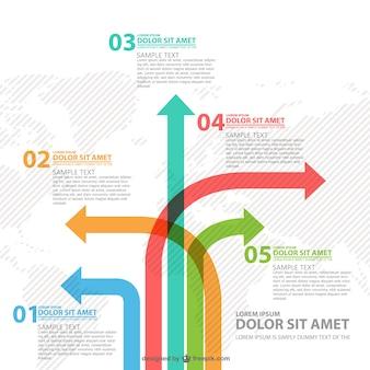 Infografía flechas de diversos caminos