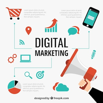 El marketing digital vectorial conceptual