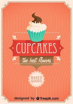 Diseño de cartel retro con cupcakes