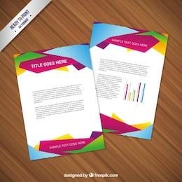 Diseño de folleto con geometría abstracta