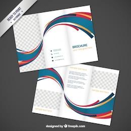 Diseño de folleto con ondas abstractas
