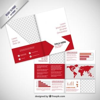 Diseño de folleto en tono rojo