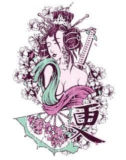 diseño de la camiseta - geishas