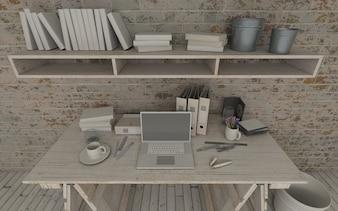 Diseño de lugar de trabajo de madera
