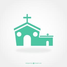 Diseño de pictograma plano de iglesia