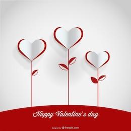 Diseño de tarjeta de flores de corazón de papel