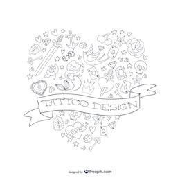 Diseño de tatuaje con forma de corazón
