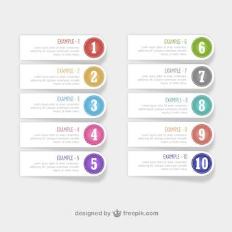 Diseño libre de etiquetas numeradas