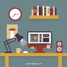 Diseño plano de escritorio de oficina
