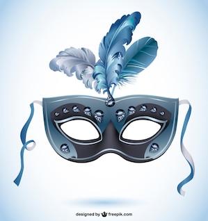 Diseño vectorial máscara de carnaval con plumas