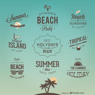 Diseños de logos de vacaciones retro