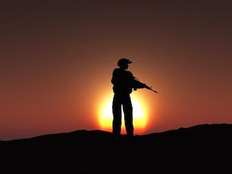 Diseño de silueta de soldado