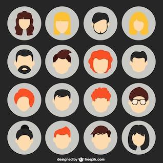 Diversos avatares humanos