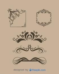 Divisores de texto florales y marcos antiguos en conjunto