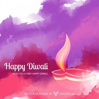 Diwali llamas sobre fondo de acuarela