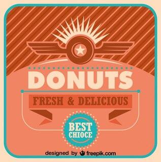Donas frescas y deliciosas en diseño de cartel retro