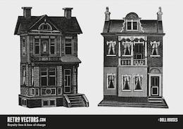 Dos casas de muñecas   Vectores retro gratuitos