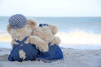 Dos osos de peluche sentado en la playa