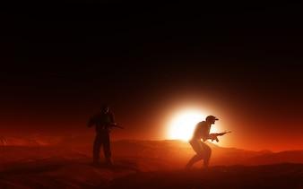 Dos soldados en la guerra