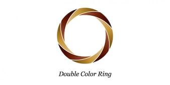 Doble de diseño de logotipo anillo de color