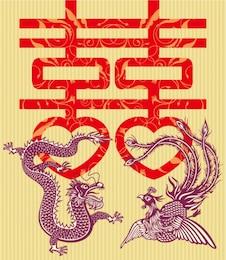 dragón doble felicidad y el material de vectores fénix