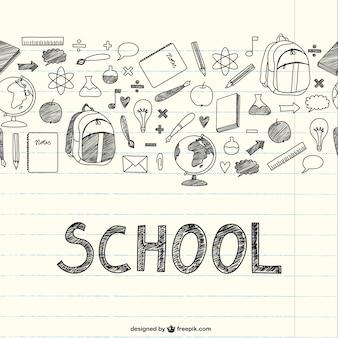 Dibujo artículos escolares en cuaderno