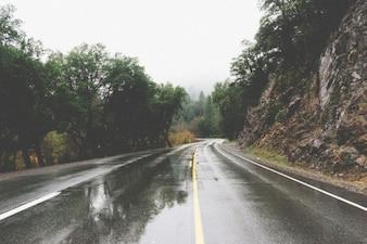 Conducir a través de una carretera mojada