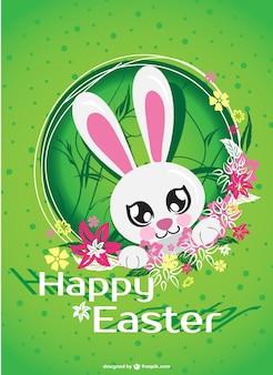 Tarjeta de Pascua con conejo simpático