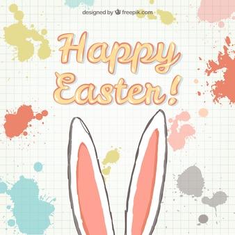 Tarjeta de Pascua con orejas de conejo