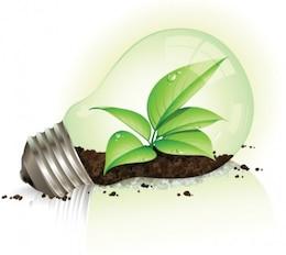Eco hojas luz gráfico vectorial bombilla