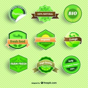 Insignias de alimentos eco orgánicos