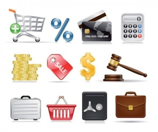 Ecommerce realista y iconos de compras establecer