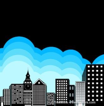 Edificios con nubes azules